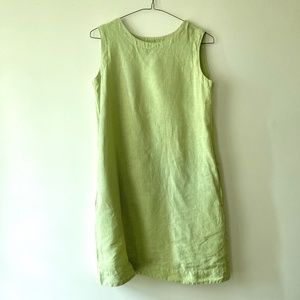 Vintage Cut Loose Light Green Linen Shift Dress